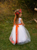 FLOWER GIRL Dress+FALL wedding+leaves in tulle