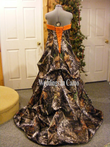 CAMO PLUS SIZE wedding dress CORSET back with PICKUPS all sizes