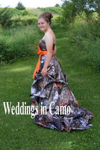 CAMO wedding dress with PICKUPS, ZIPPER option