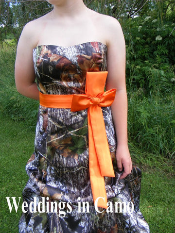 CAMO sash or SOLID colored sash for your WEDDING dress