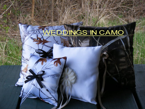 CAMO RING Pillow +CUSTOM to YOUR wedding colors