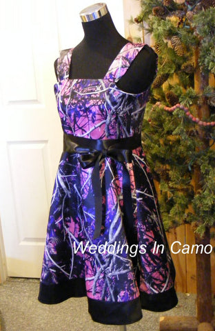 MUDDY GIRL CAMO Dress+camo flower girl dress+in Satin with sash