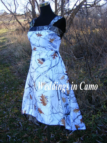 CAMO dress+High low hemline+ZIPPER back+underskirt another color