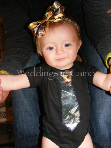 CAMO Baby Onesie or T-shirt with Tie Applique