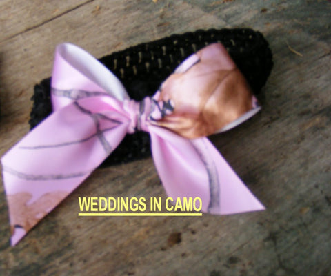 CAMO HAIR BOW with knit headband for Babies or headband for Toddler's
