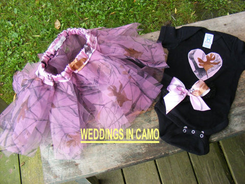 CAMO BABY girl outfit+TUTU Complete set Onesie and hairbow