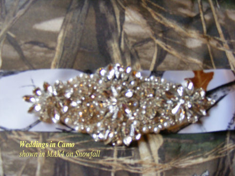 CAMO sash Wedding dress sash+Rhinestones+pearls beading+choose sash color