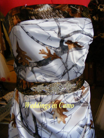 CAMO sash BEADED pearls and rhinestones add to your WEDDING dress