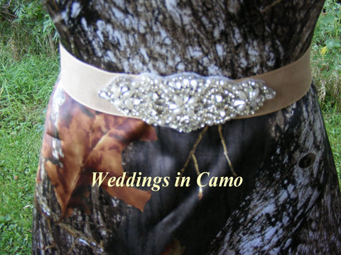 CAMO sash with RHINESTONE and pearls beading add to your WEDDING dress