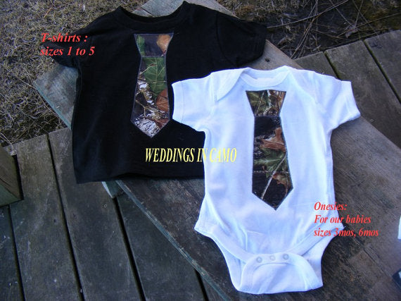CAMO Baby T-shirt or Toddler T-shirt with Tie Applique