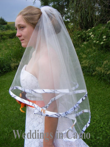 CAMO VEIL+Double Layer Ribbon Trimmed Veil