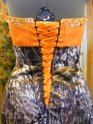 CAMO DRESS High low hemline+beaded CORSET back dress
