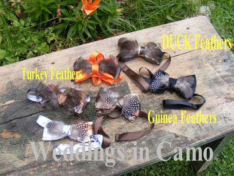 CAMO Bowties with feathers all COLORS+camo bow ties+boys camo tie