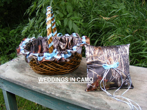 CAMO WEDDING Accessories Flower Girl Basket and Ring Bearer pillow for Country Wedding