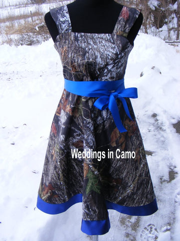 Mossy Oak CAMO Dress+camo flower girl dress+in Satin with sash