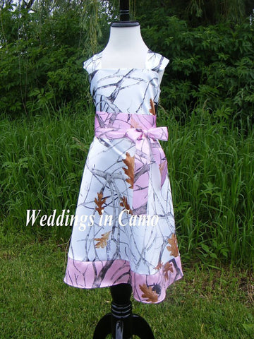 CAMO Dress+camo flower girl dress+in Satin with sash