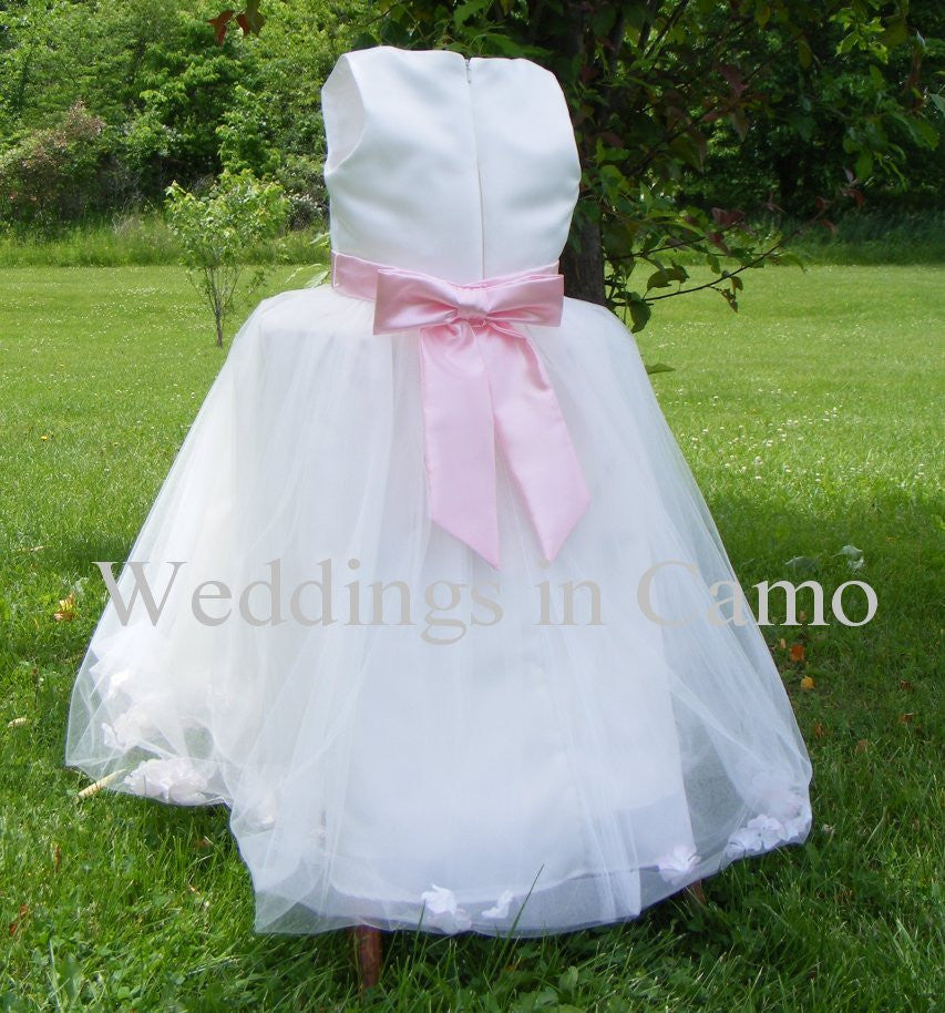 Flower girl dress, COUNTRY WEDDING with SASH and Florals