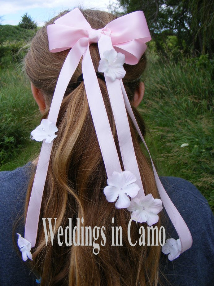 Hair bow with silk flowers