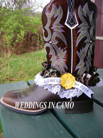 CAMO GARTER Personalized add Wedding Date and Name