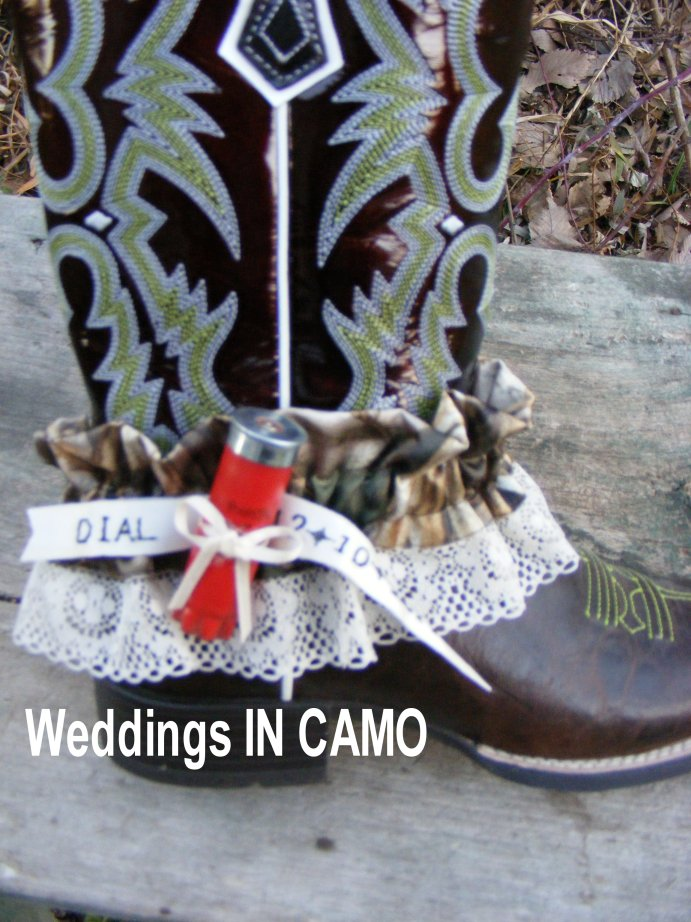 SHOTGUN shell Wedding garter with CAMO