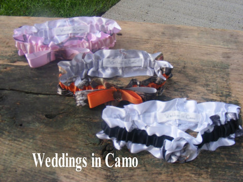 CAMO GARTERS in CAMO ribbon. Pick your style and colors