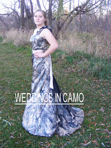 BARN Wedding+CAMO dress trumpet style+PLUS size+ZIPPER back+ Flare bottom and train