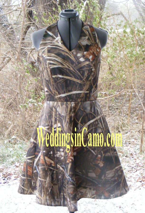 SHORT CAMO Bridesmaid HALTER Style SIZES 2 to 16