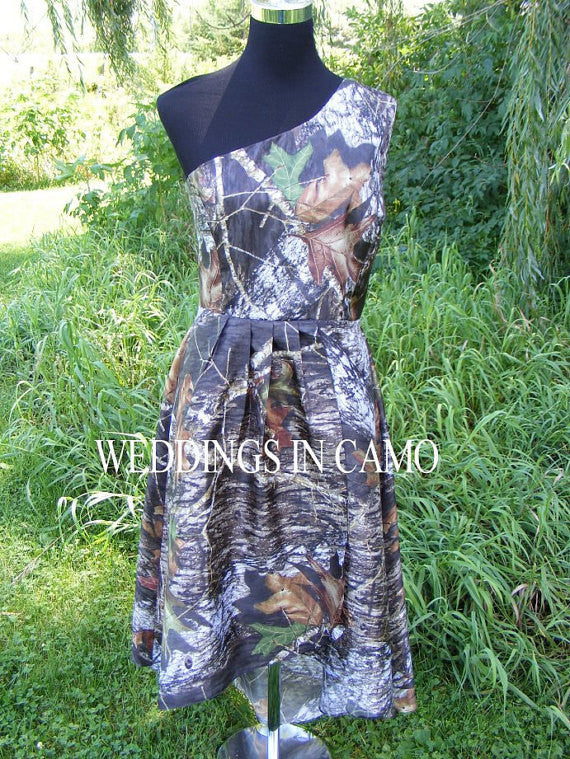 camo bridesmaid dress with high low hemline