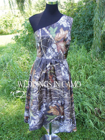 CAMO BRIDESMAID dress+high low hemline+ in Country wedding colors