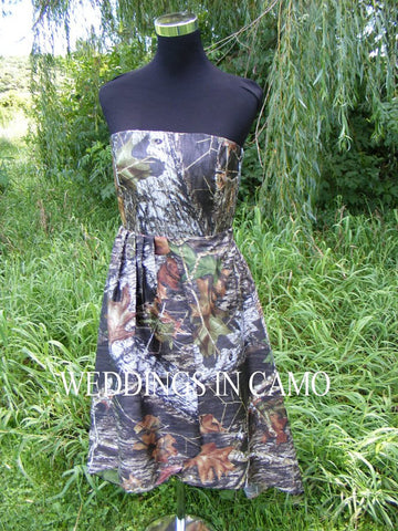 CAMO BRIDESMAID dress+PLUS size bridesmaid+high low hemline+ in Country wedding colors