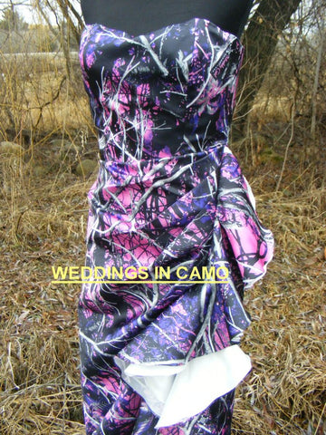 CAMO PROM dress+ruffles and leg split+PLUS size+ZIPPER back