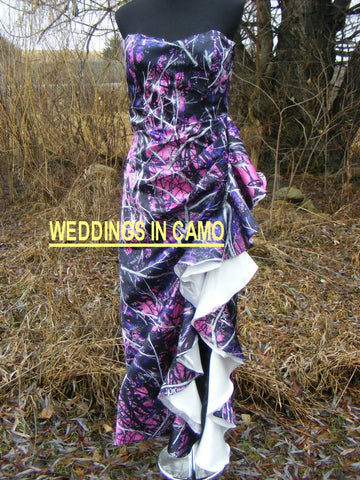 CAMO PROM Dress+ruffles and left leg split+ZIPPER back+sizes 2 to 14