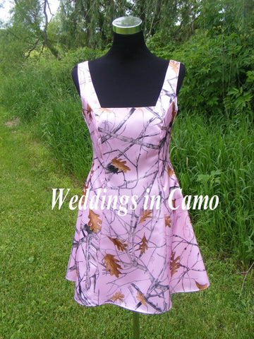 SHORT CAMO Bridesmaid +Sleeveless with square-neck GREAT for plus SIZE 18 to28