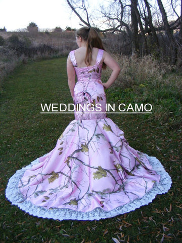 PINK CAMO WEDDING Dress+ fitted style+CORSET back+ Flare bottom and train sizes 16 to 24