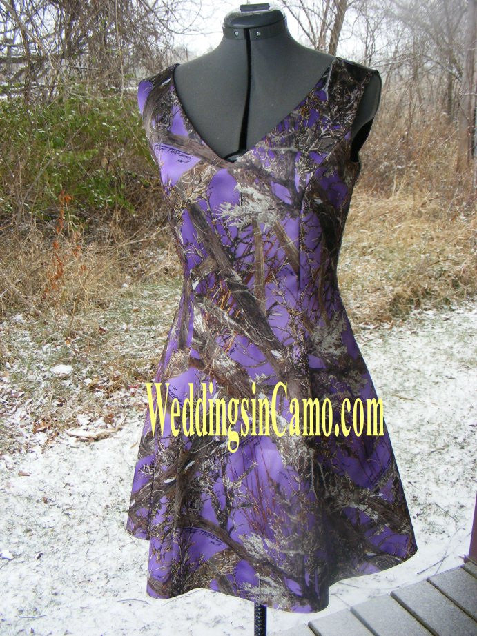 SHORT CAMO Bridesmaid Sleeveless with V-neck SIZES 2 to 16