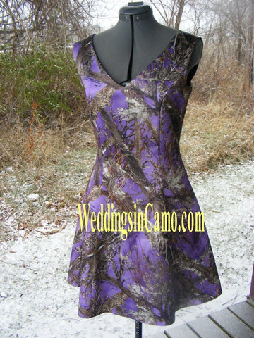 SHORT CAMO Bridesmaid Sleeveless with V-neck GREAT for plus sizes SIZES 18 to 28