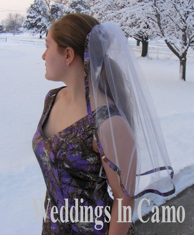 CAMO VEIL+ SINGLE Layer+Satin Ribbon Trimmed Veil