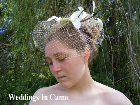 Flower Comb with Birdcage Veil