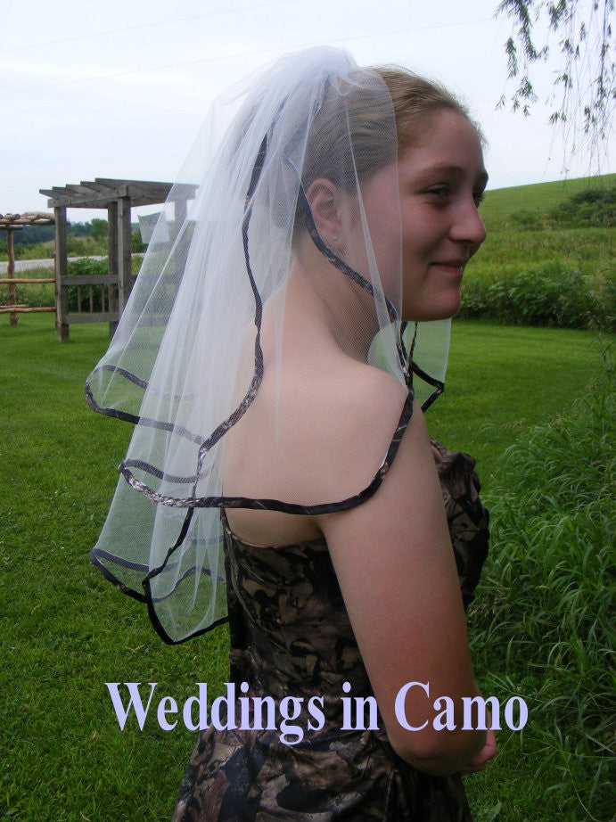 CAMO VEIL+RIBBON Edged+Scalloped edge CAMO wedding Mossy Oak available