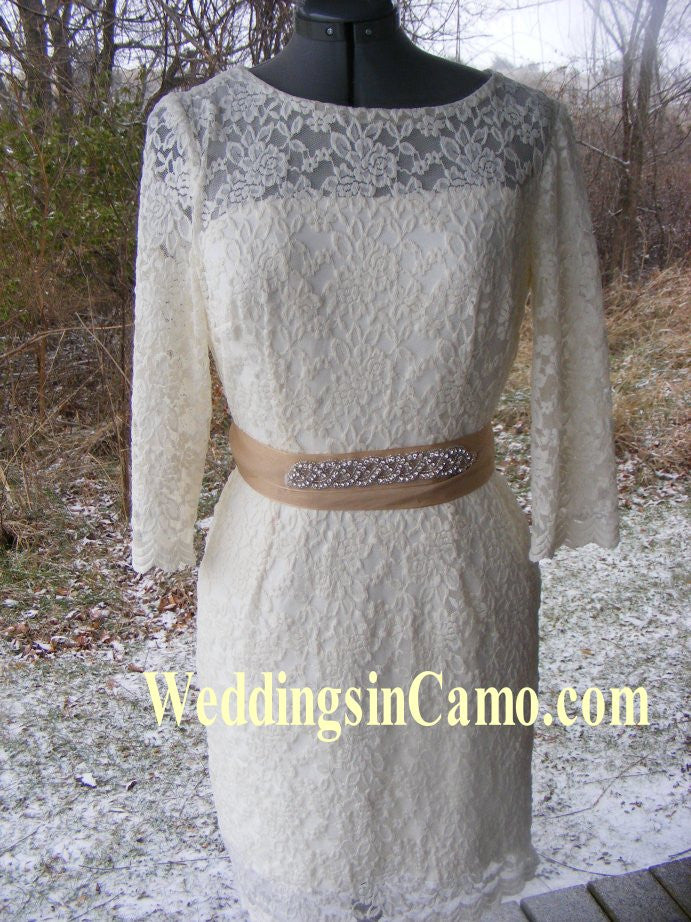 SHORT Lace Dress for your Wedding with OPTIONAL Tulle skirt and rhinestone beaded ribbon belt
