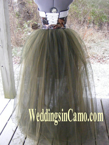 CAMO dress SHORT dress+PLUS SIZE with Tulle overskirt SHORT wedding dress