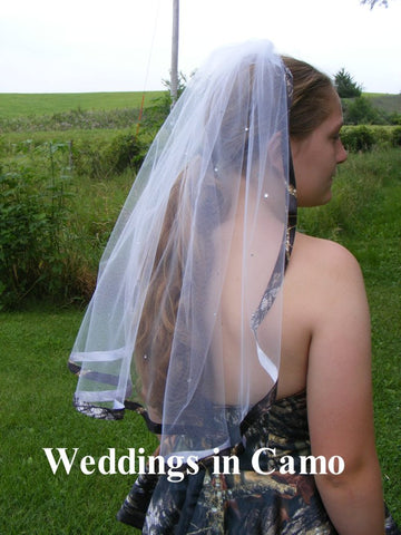 CAMO VEIL+Ribbon with CRYSTALS Single Layer VEIL
