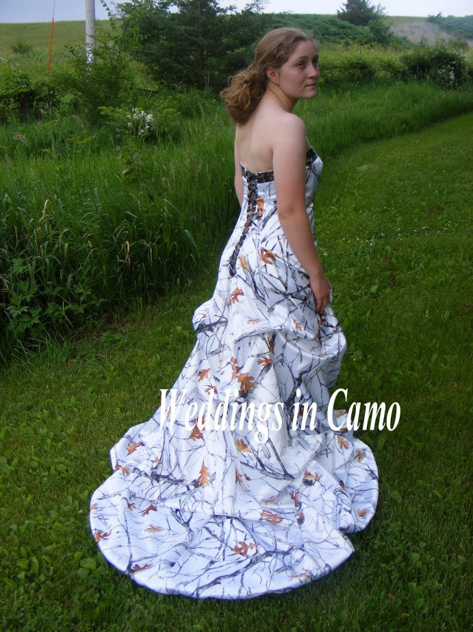 CAMO Wedding Dress CORSET back with PICKUPS all sizes