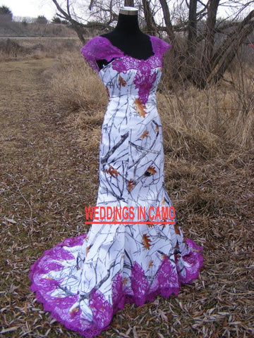 CAMO WEDDING Dress+LACE trim+Corset Back sizes 2 to 14