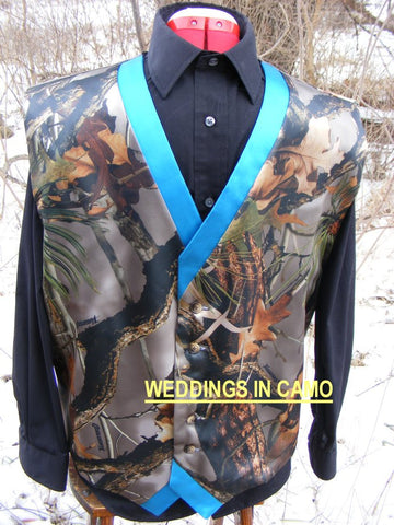 MENS CAMO Vest Two-tone trim sixteen color choices Custom Made