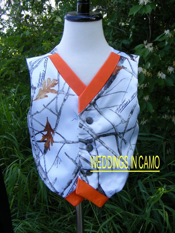 BOYS CAMO Vest+Childs Camo Vest ALL COLORS Custom Made