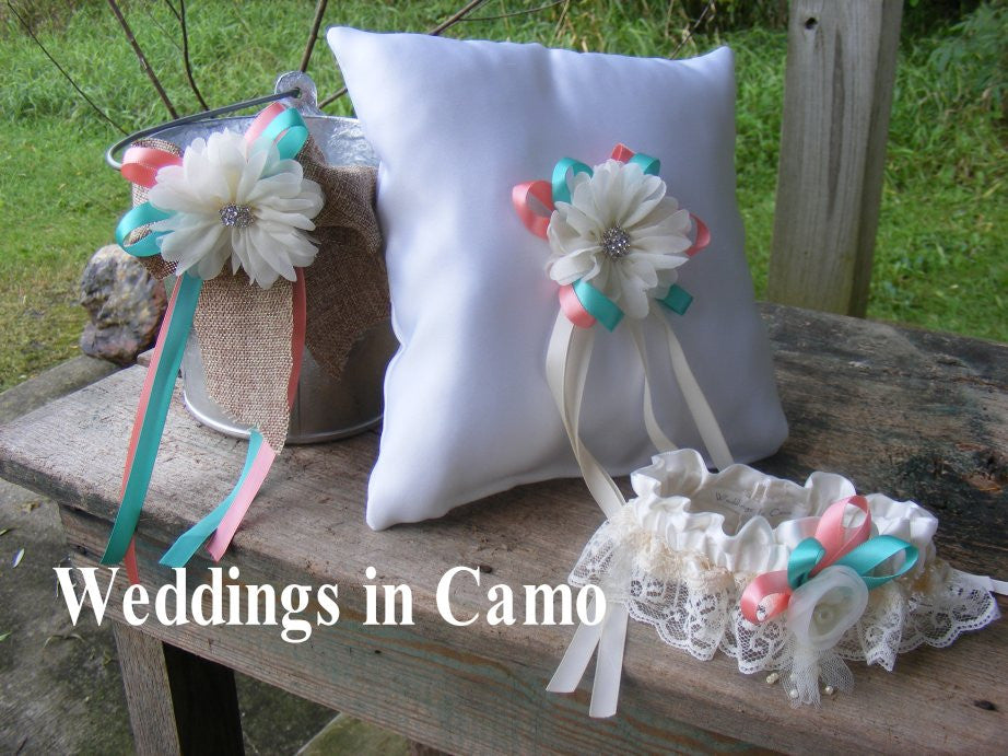 CAMO wedding set Ring Bearer Pillow Garter Flower Girl Pail