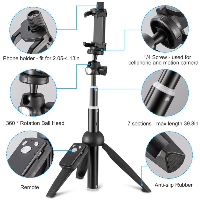 2 in 1 Selfie Stick Tripod With Built-In Wireless Remote