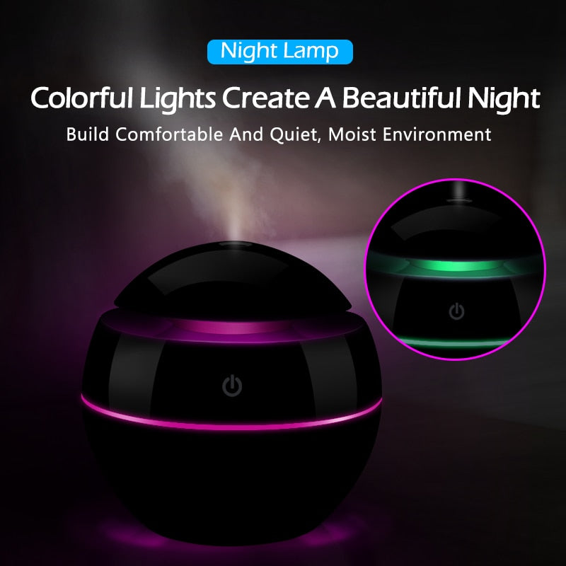USB Air Humidifier Changeable Aroma Essential Oil Diffuser With LED Night Light