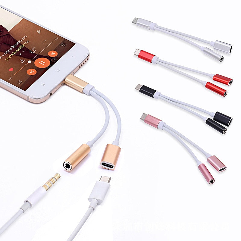 2 in 1 USB Type C To 3.5 AUX Cable 3.5mm Jack Audio Adapter